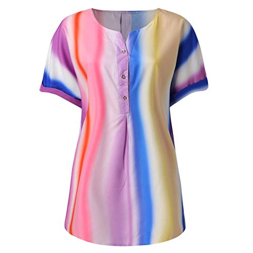 GREFER Casual Gradient Print Button-Down Shirts - Elegant V Neck Flowy Tunics - Blouses for Women Fashion 2019 Multicolored