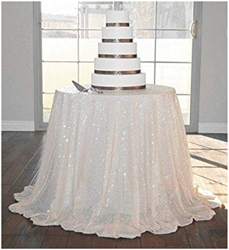 ShinyBeauty Ivory-72in Round-Sequin Tablecloth for -