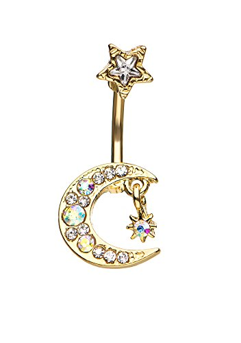 Pierced Owl Celestial Crescent Moon and Stars Belly Button Ring with Clear CZ Crystal Accents and Dangling Charm (Gold Tone)