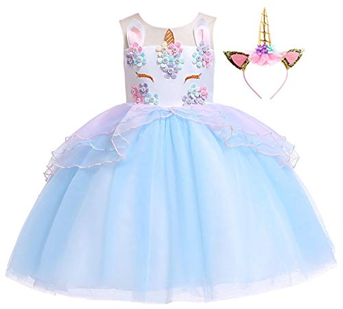 Girls Unicorn Costume Dress Baby Girls Flower Halloween Tutu Dress -
