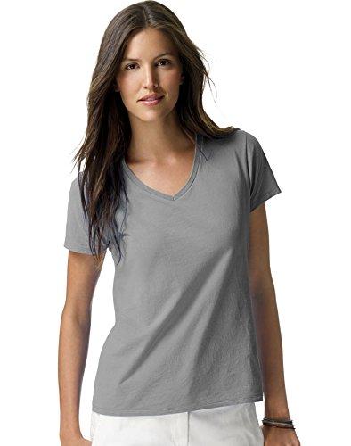 Hanes Ladies Ringspun Cotton Nano-T V-Neck T-Shirt, Light Steel, XX-Large
