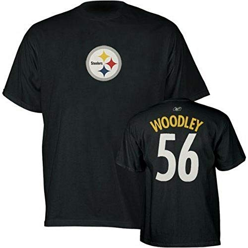 Reebok Lamar Woodley Pittsburgh Steelers Jersey Name and Number Black T-Shirt M