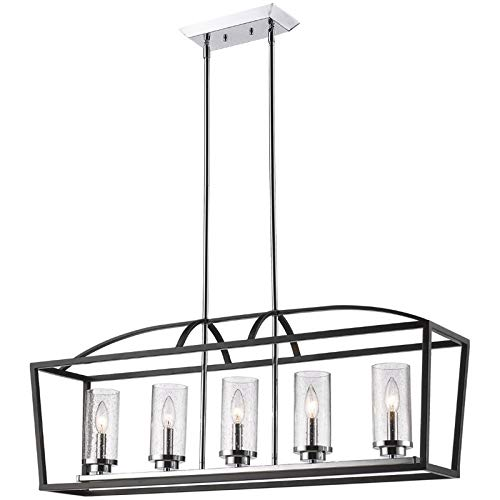 Beaumont Lane 5 Light Seeded Glass Cage Island Pendant in - Beaumont Light Five
