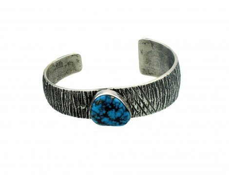 Aaron Anderson, Morenci Turquoise, Tufa Cast Sterling Shell Cuff, Navajo ()