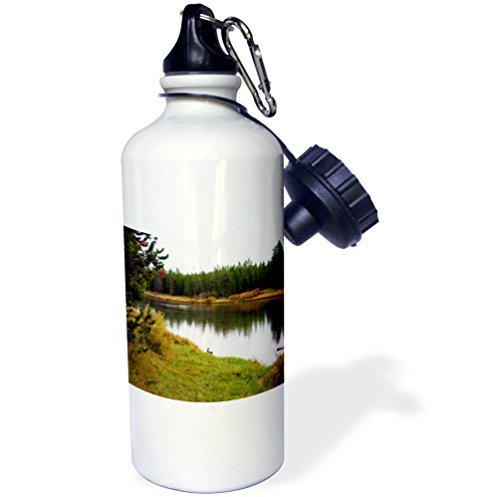 rfy9u7 21oz Sports Water Bottle, Yellowstone Water - A beautiful lake in Yellowstone surrounded by trees in early fall by rfy9u7