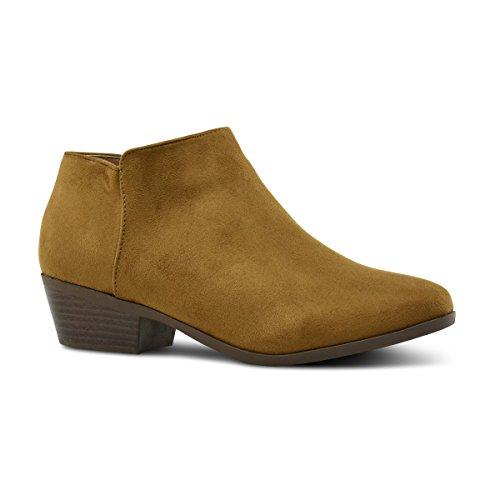 Tan Standard Womens Boots (Premier Standard Women's Round Toe Faux Suede Stacked Heel Western Ankle Bootie, TPS Bradee-07 v2 Tan Size 7.5)