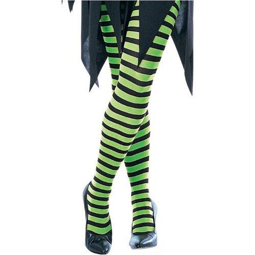 Girls Green and Black Striped Pantyhose - Child Medium]()