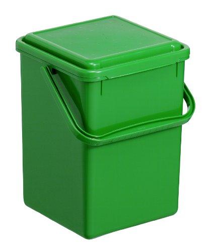Rotho Komposteimer Bio, Abfallbehälter für die Küche aus Kunststoff mit geruchsdichtem Deckel in grün, Biomülleimer mit 8 Liter Inhalt, ca. 23 x 22.5 x 27.5 cm