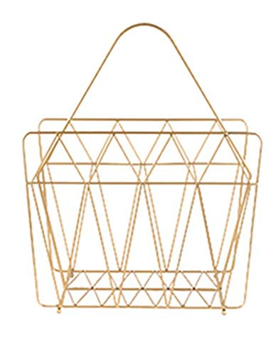 Marie & Kenneth Metal Wire Magazine Holder - Durable, Rust-Resistant-Lightweight, Portable - Standing Rack for Magazines, Newspapers, Books, Tablets -Bathroom, Office, Family Room, Kitchen- Gold