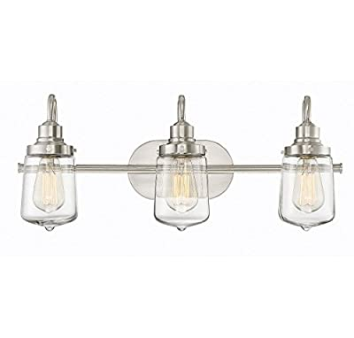 Trade Winds Lighting TW80017BN 3-Light Transitional Clear Bath Bar Vanity Light, 100 Watts, in Brushed Nickel