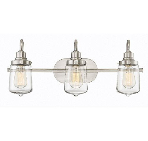 Trade Winds Lighting TW80017BN 3-Light Industrial Retro Vintage Transitional Loft Vanity Bath Light with Clear Glass in Brushed Nickel ()
