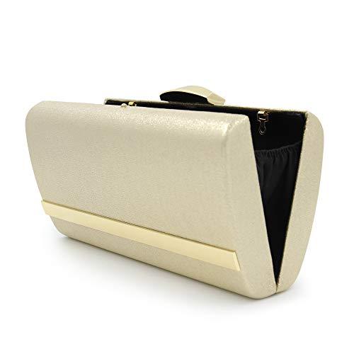 Clutch Milisente Elegant Purse Bag Gold Glitter Women Evening Metal Clutches Gold x0qYp06Ur