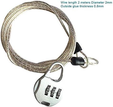 Cutogain antirrobo Contrase/ña Ranura para Cable de Acero Equipaje Seguridad Protector Bike Chain Locks Mochila Candado
