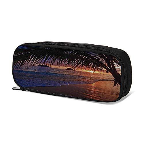 Hawaiian Decorations Durable Pen Bag,Pacific Sunrise at Lanikai Beach Hawaii Sandy Tropics Distant Hills Leaves Landmark for School,9.4