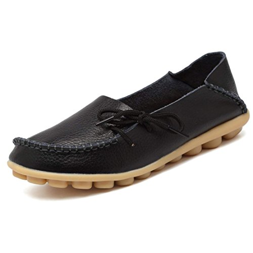 Women's Leather Loafers Flats Slip On Moccasins Casual Driving Shoes(9.5 B (M) US/Label Size 42,Black)