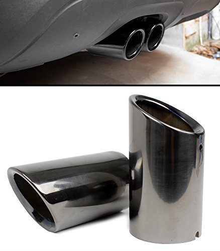 TITANIUM BLACK CHROME SLIP-ON STEEL MUFFLER EXHAUST TIPS FINISHERS FOR 2009-2015 AUDI A4 A5 VW (Audi A5 Tuning)