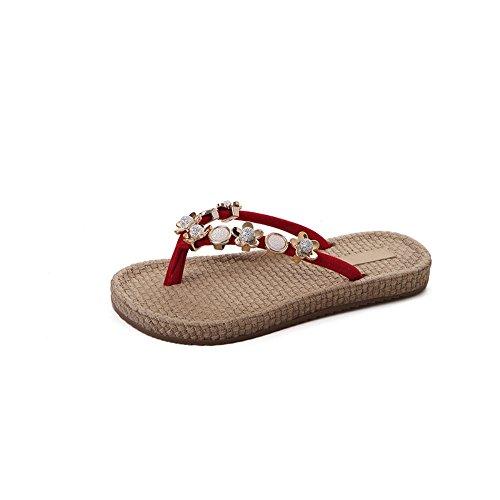 da IANGL Scarpe estive Rosso Donna Infradito Piedi con Fondo da Ciabatte Rosso Spiaggia Piatto Viaggio da Wx4rwFyB4q