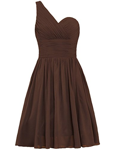 Wedding Dresses Cdress Prom Bridesmaid Shoulder Short One Gowns Chiffon Chocolate Party UwnwZq0A