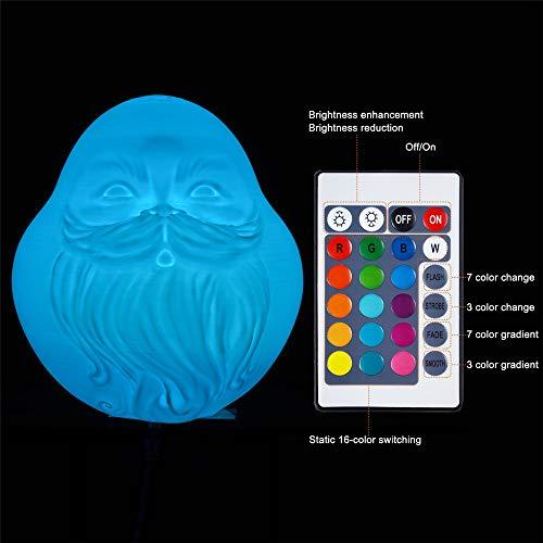 Icocol New Colorful RGB 3D Light Christmas Decoration Lamp Night Light Desk Gift Lamp-Santa Claus portrait (E) (Santa Claus Portrait)