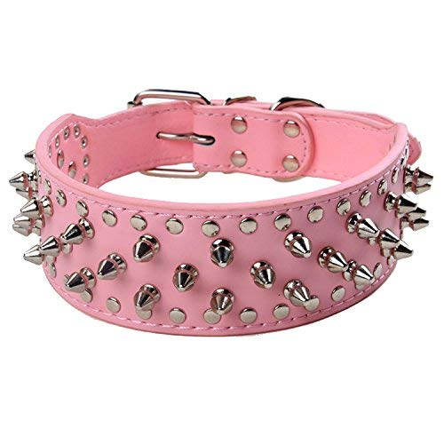 (BONAWEN Dog Spike Collar Genuine Leather Studded Dog Collar Pitbull Lab Doberman Boxer Collar for Extra Large,Large,Medium Dogs, 2 inch Width (Pink,S))