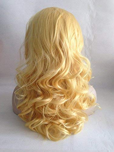 Cupidlovehair Yellow Blonde Wave Medium 18 Inches Heat Resistant Korea Synthetic Fiber Hair Lace Front Wigs Natural]()
