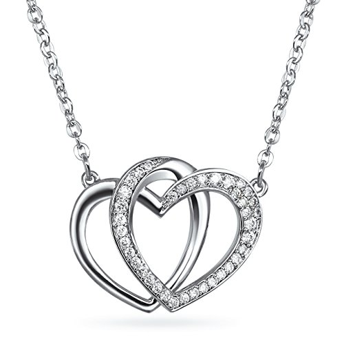 Cubic Zirconia Station Necklace Interlocking Hearts Women Fashion 18 inches (Station Heart Shaped Necklace)