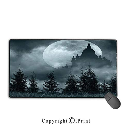 Stitched Edge Mouse pad,Halloween,Magic Castle Silhouette Over Full Moon Night Fantasy Landscape Scary Forest,Grey Pale Grey,Premium Textured Fabric, Non-Slip Rubber -