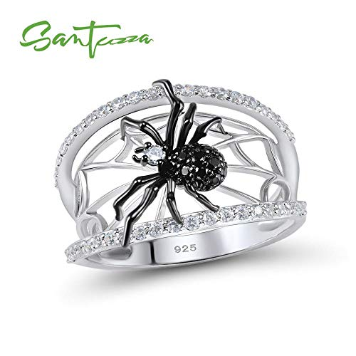 Silver Spider Ring | 925 Sterling Silver Unique Rings | Natural Black Stone Ring | Trendy Party Fashionable Jewelry | for Women