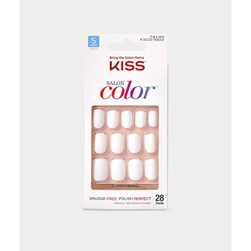Kiss Salon Color Short Length Matte Nails - 74148 White