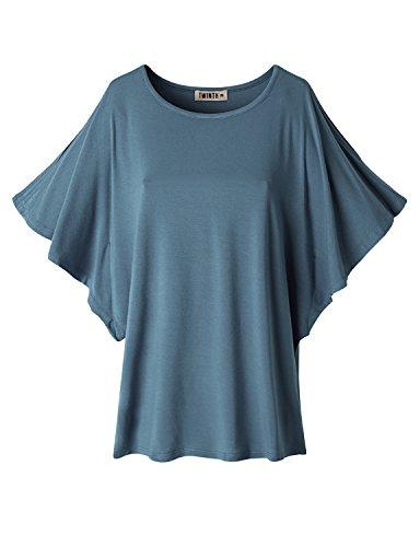 Doublju Women Sexy Round Neck Short Sleeve T-Shirt ASHNAVY,S
