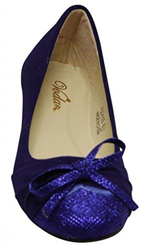 Voda Espirit Da Donna Ballerina Barca Plissettata Glitter Fiocco Nodo E Punta In Pelle Scamosciata Finta Appartamenti Blu
