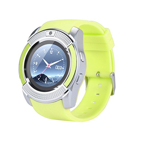 T3.0 Calling Touch Screen GSM 2G SIM Wrist Watch Phone Mate for iPhone IOS Android for Women Men Kids (green) ()