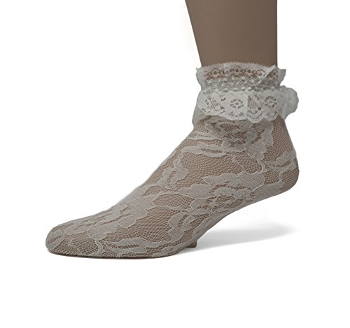 EMEM Apparel Women's Ladies Lace Anklet Ankle Quarter Socks Stockings with Ruffle White 9-11
