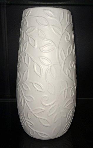 Vase Blumenvase Keramik weiß 22 cm hoch mit Blatt-Dekor