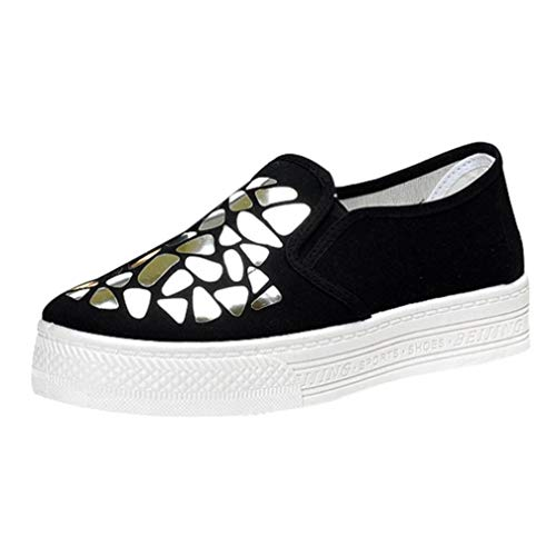 UOKNICE Women Sequined Shoes Casual Sports Muffin Shoes Shallow Falt Slip On Canvas Shoes(Silver, CN 40(US 7.5))