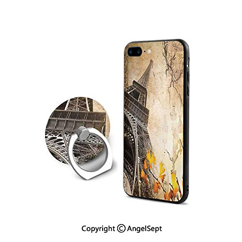 Protective Case for iPhone 8/iPhone 7 with Ring Holder Kickstand,Romantic Vintage Paris Collage Eiffel Tower Golden Autumn Leaves and A Heart Shape,Durable Soft Touching,Sepia
