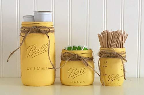 Mason Jar Coffee Storage Decor Set - 3 Piece, Yellow, Kitchen Storage Decor by Sunday Bowtique