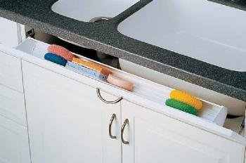Rev-A-Shelf 6551-36-11-52 36'' Tip-Out Sink Front Tray with 2 pair of hinges - Polymer-White