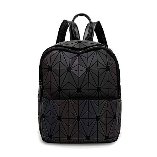 Fashion Zaino Luminoso Scrub Diamond Stitching Bag Zaino Da Viaggio Black