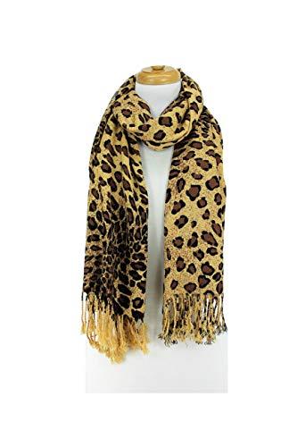 Zebra Camel (Paskmlna Animal Print Fringed Shoulder Pashmina Wrap Scarf - Leopard Zebra Patterns (Camel Brown Leopard))
