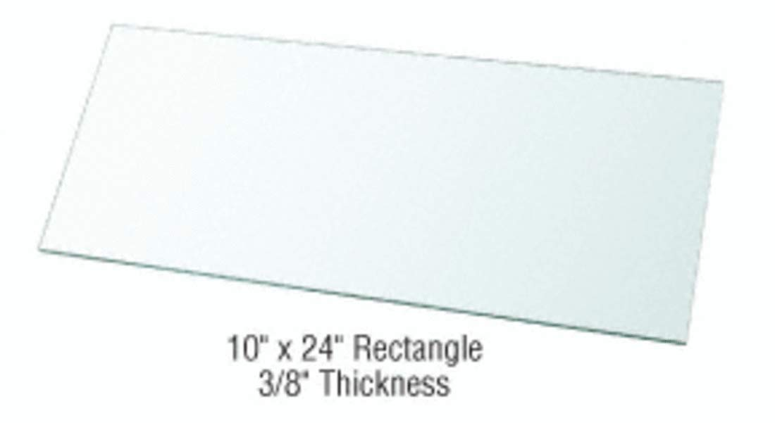 CRL 10'' x 24'' Rectangle 3/8'' Clear Tempered Glass Shelf - Pack of 3 by CRL (Image #1)