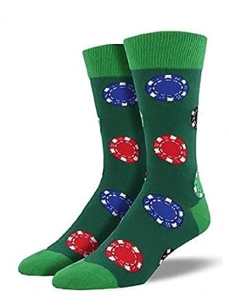 "Socksmith Mens' Novelty Crew Socks ""Ante Up"" - 1 pair (Hunter Green) Sock Size 10-13, Shoe Size 7-12.5"