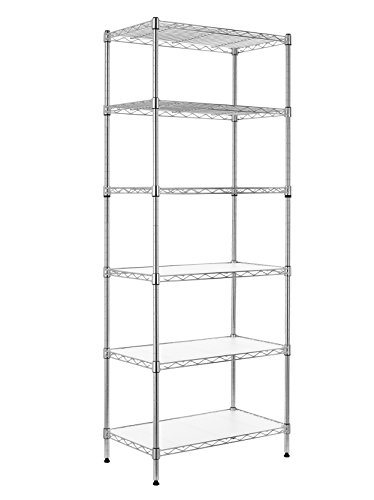 (Finnhomy 6-Tier Wire Shelving Unit Adjustable Steel Wire Rack Shelving 6 Shelves Steel Storage Rack or Two 3 Tier Shelving Units with PE mat and Stable Leveling Feet, Chrome)