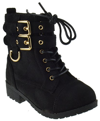 Cherry 6A Little Girls Combat Lace Buckle Boots Black 7