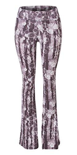 SATINA High Waisted Flare Palazzo Wide Leg Pants | Printed & Solid | Reg & Plus (Large, Dandelion Grey)