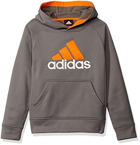 adidas Big Boys' Po Tech Fleece Hoodie, Granite/Unity Orange, Medium/10-12