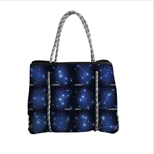 iPrint Neoprene Multipurpose Beach Bag Tote Bags,Constellation,Zodiac Sign Set Symbols and Names Group of Stars Cluster Esoteric,Dark Blue Blue White,Women Casual Handbag Tote Bags