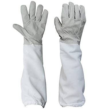 BESTOPE® 1 Pair Beekeeping Protective Gloves Goatskin Perfect for the Beginner Beekeeper A Pair of Beekeeping Protective Gloves with Vented Long Sleeves 4.33 inch