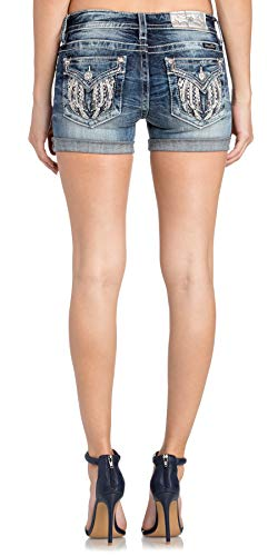 Miss Me Women's Angel Wing Mid-Rise Shorts in Medium Blue Medium Blue 25 3
