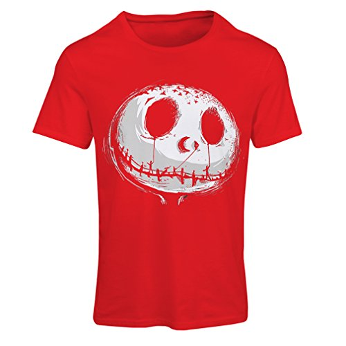 T shirts for women Scary Skull Face - Nightmare - Halloween outfit party costumes (Small Red Multi Color) (Pat Benatar Costumes)